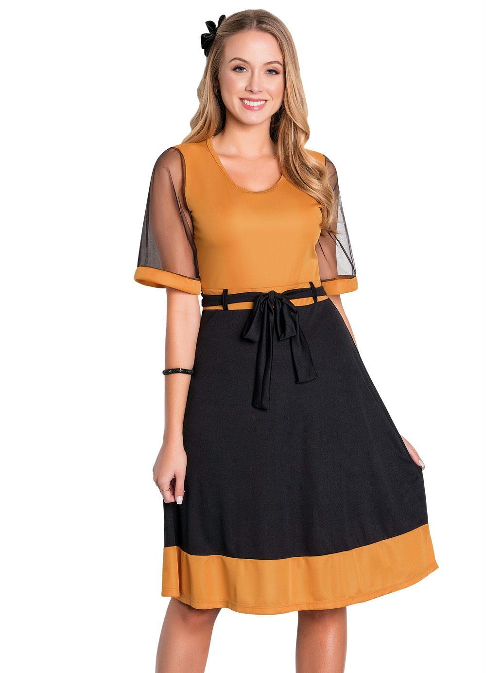 Rosalie - Vestido Bicolor Moda Evangélica com Tule