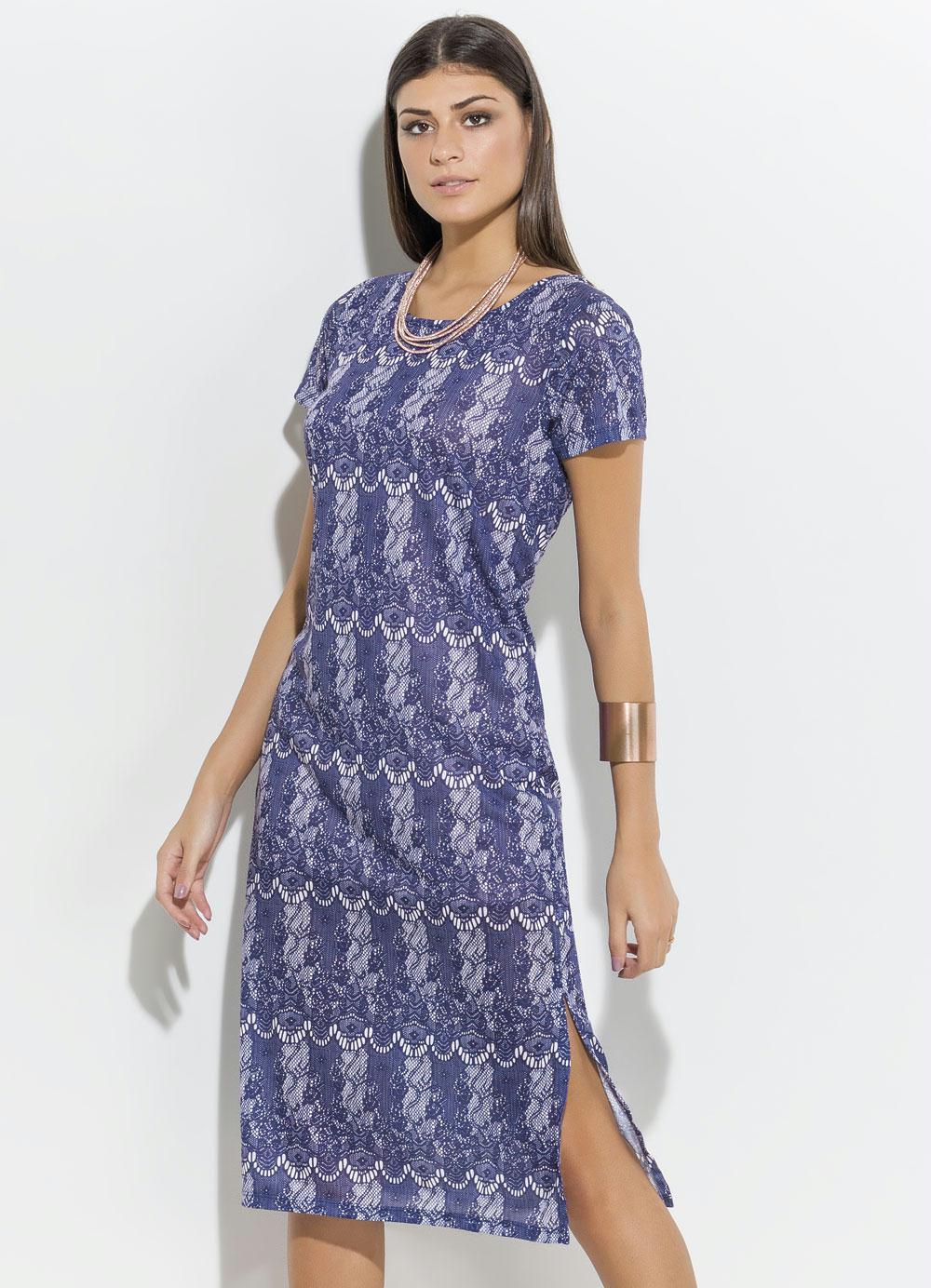 9cb62ba71 Vestido Quintess Azul com Estampa em Renda - Quintess