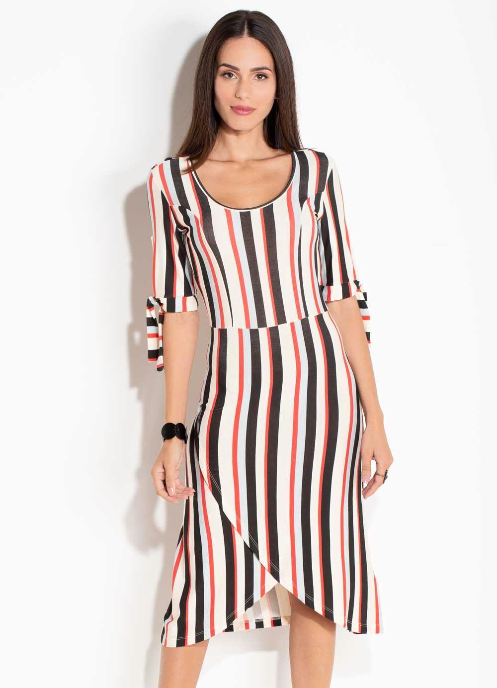 acb584510b Vestido Quintess Listras Coloridas com Amarração - Quintess