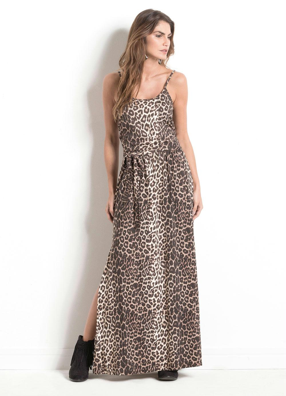 831d417306 VESTIDO LONGO ANIMAL PRINT QUINTESS COM FENDA - Quintess