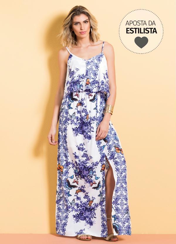 57bff6daf Vestido Longo Cetim Mix Floral Quintess - Quintess