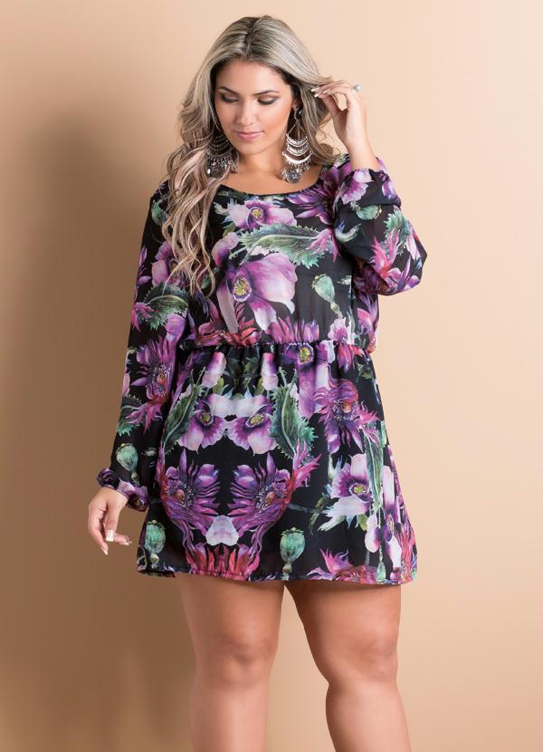572651956 Vestido Acinturado Maxi Floral Plus Size - Quintess