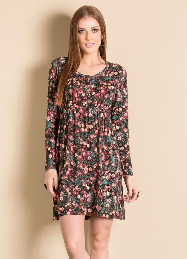 78778a2f1 Vestido Evasê Manga Longa Floral - Quintess
