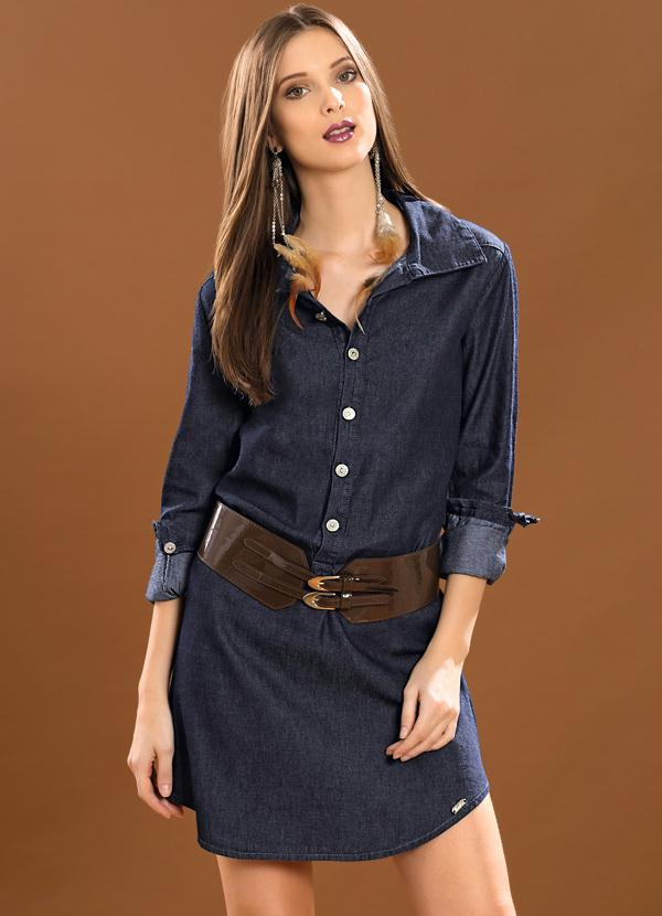 Vestido camisa jeans manga longa