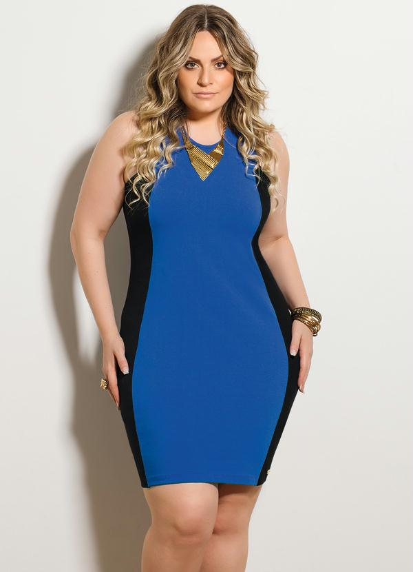 2a8e42c6f Vestido Tubinho Preto e Azul Plus Size - Quintess