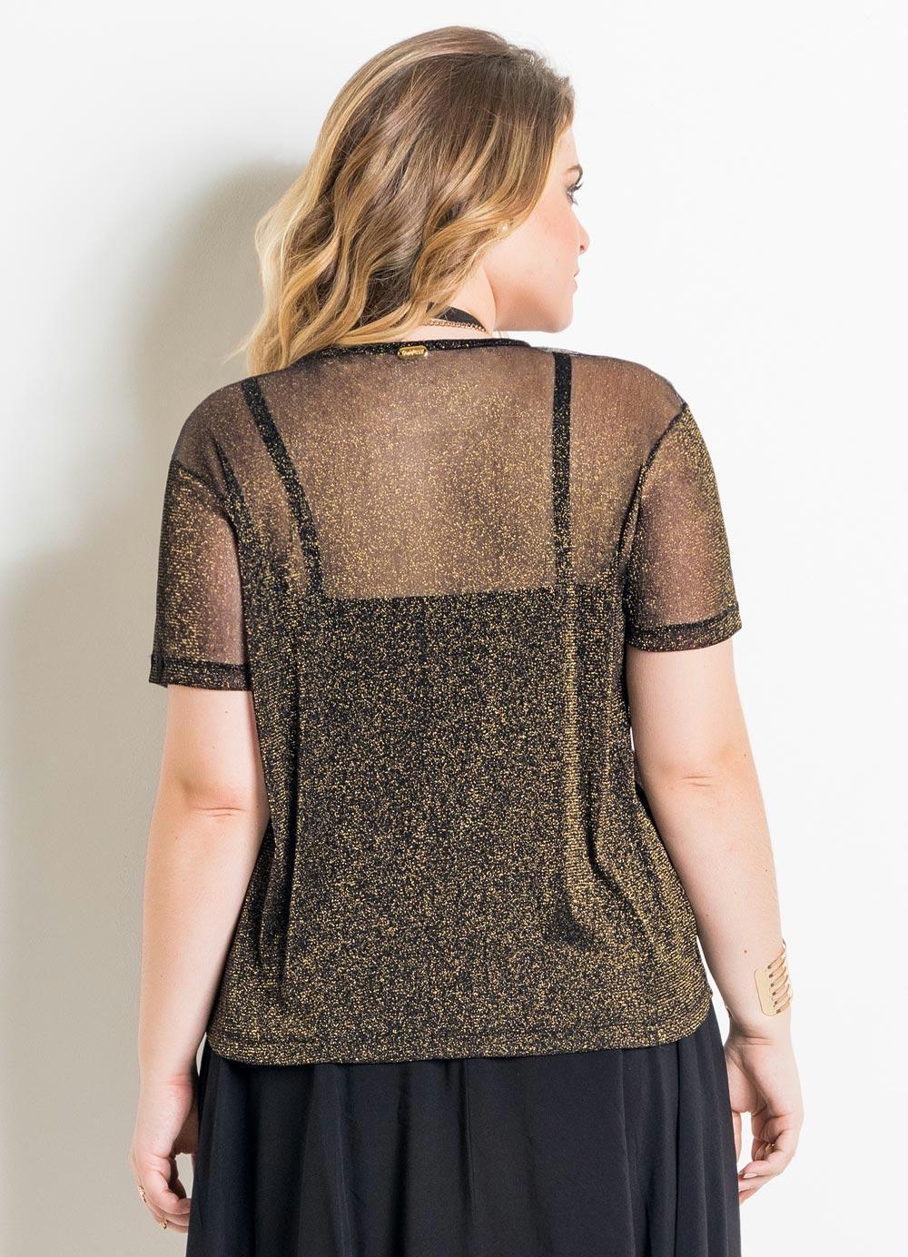 Blusa Metalizada Preta e Dourada Plus Size - Quintess a3800ba819d20