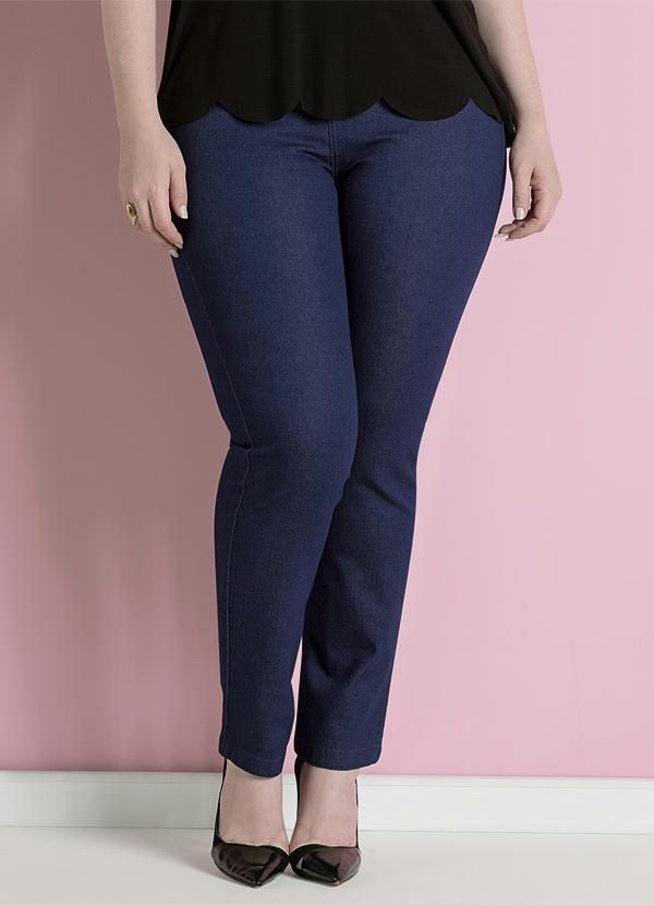 Calça Jeans Skinny Azul Cintura Alta Plus Size - Quintess 850ca4f8902