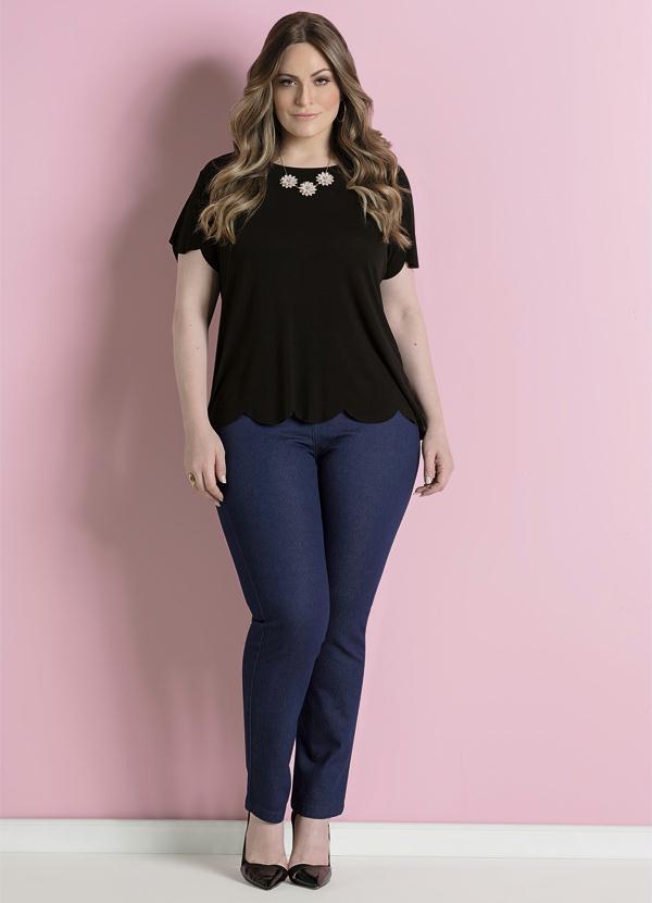d655ada3e Calça Jeans Skinny Azul Cintura Alta Plus Size - Quintess