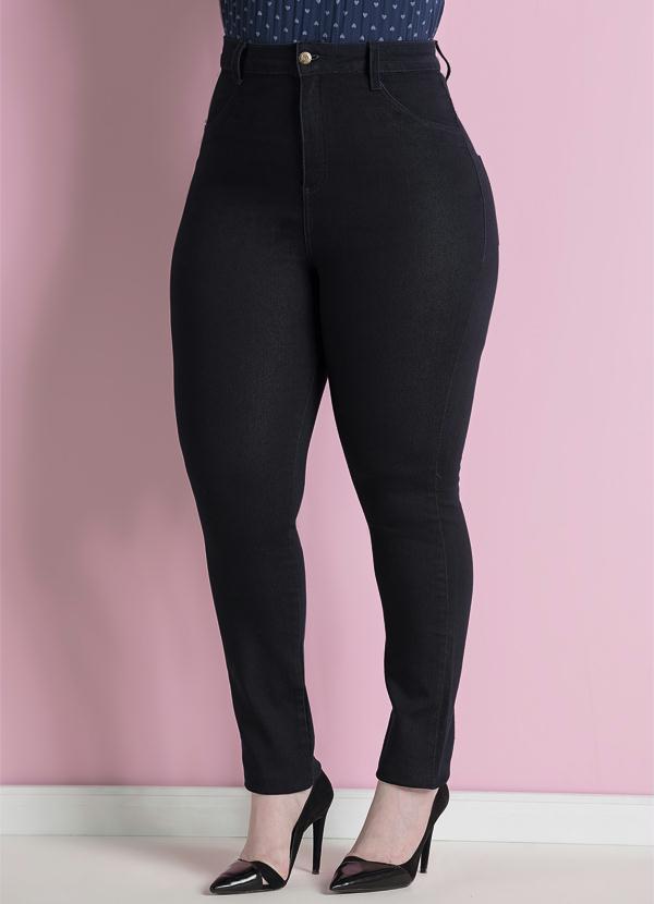 Calça Jeans Skinny Marinho Plus Size - Quintess 41bacf0fd16