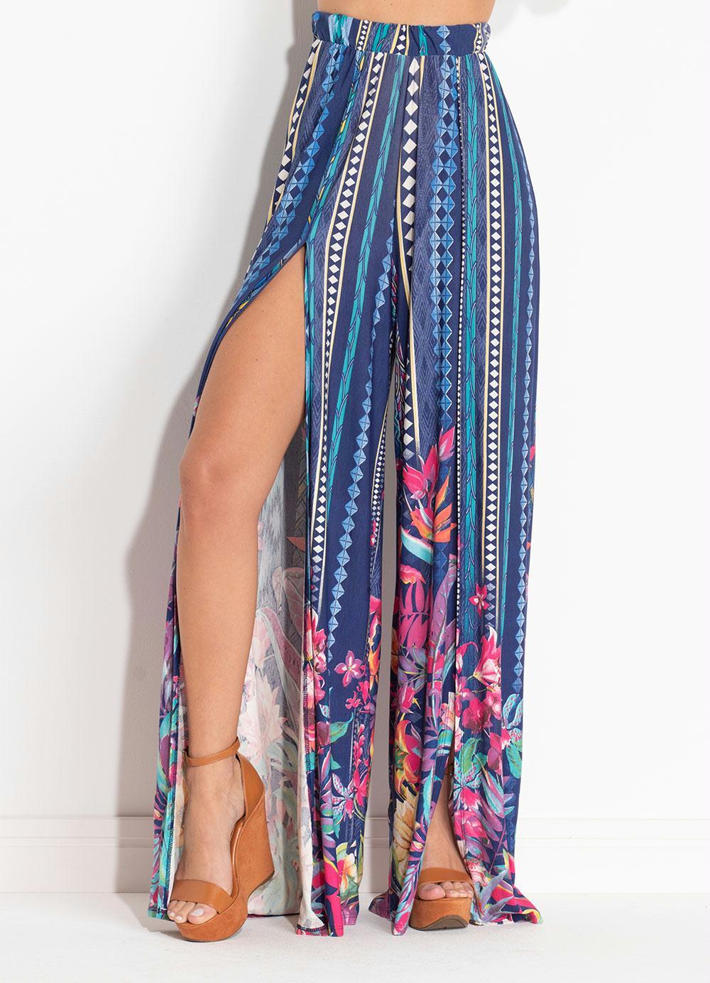 Calça Pantalona com Fenda Floral e Étnica - Quintess 059dc486299