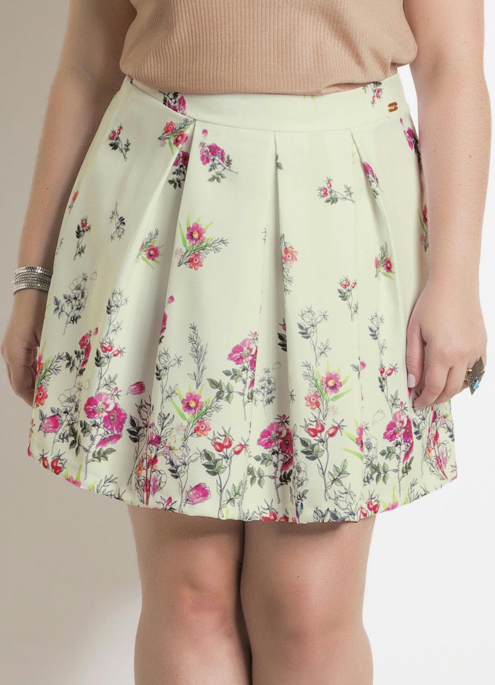 7d7d8cb7f Saia Floral com Forro Plus Size Quintess - Quintess