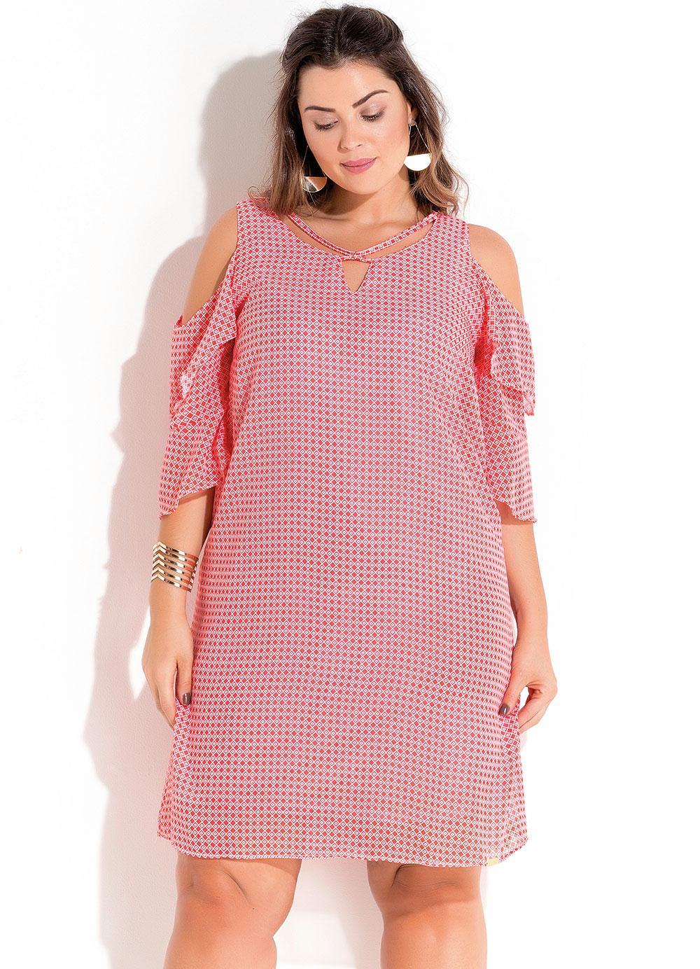 eca4cbea0 Vestido em Chiffon Rosa Estampado Plus Size - Quintess