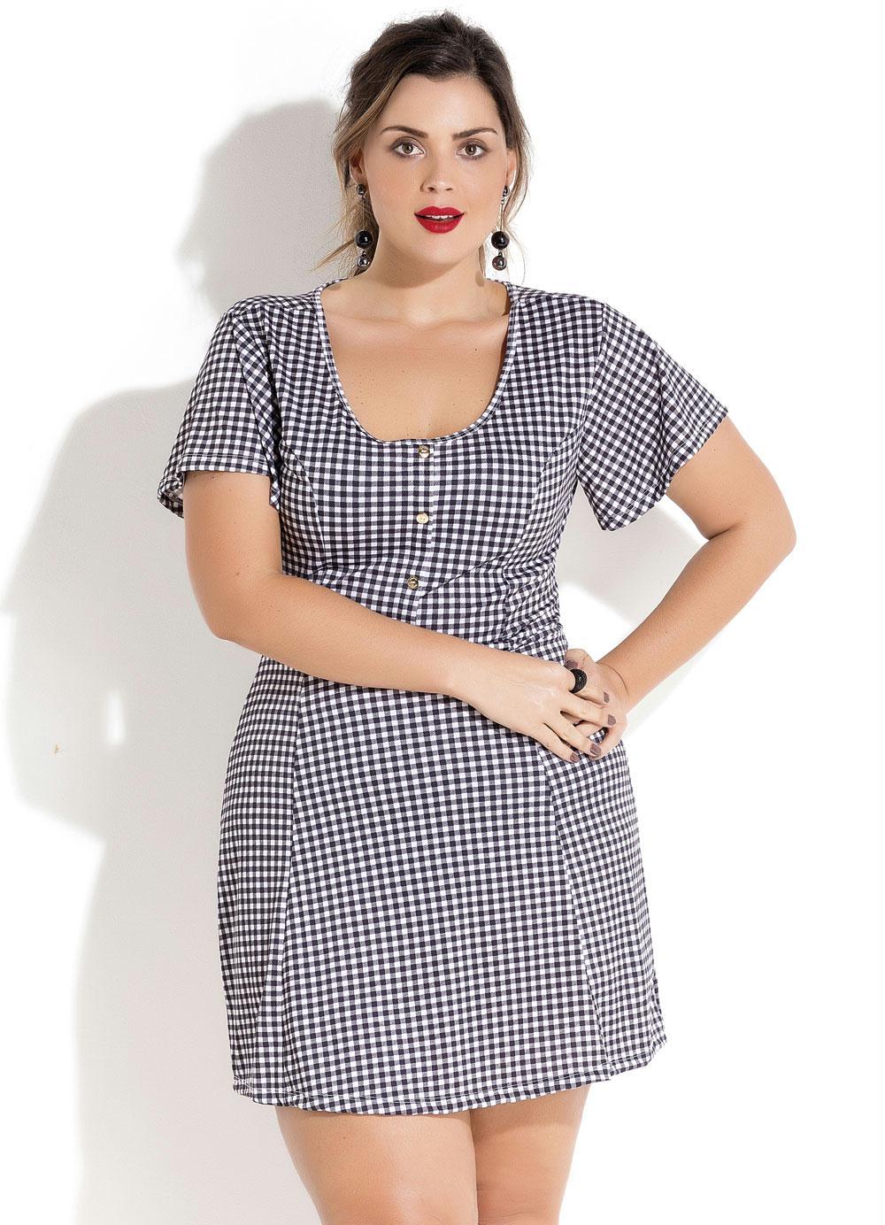 756be743b Vestido Evasê Xadrez Vichy Plus Size Quintess - Quintess