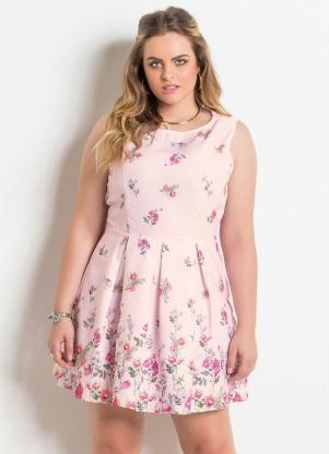 2ada5801d Vestido sem Mangas Floral Rosa Plus Size - Quintess