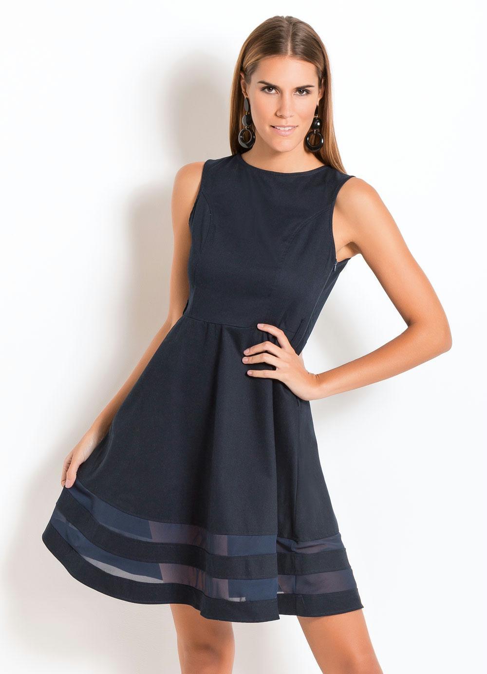 f54bb98108ffef Vestido Evasê Quintess Plus Size (Marinho)