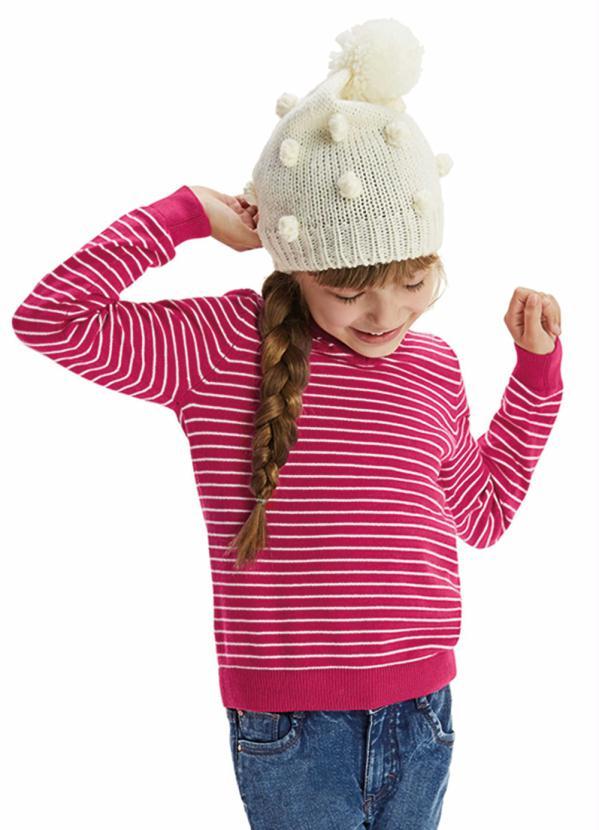 Malwee Kids - Suéter Pink Listrado em Tricô