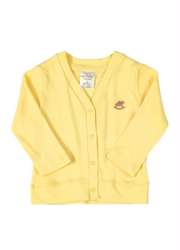 Up Baby - Casaco Cardigan em Suedine Amarelo