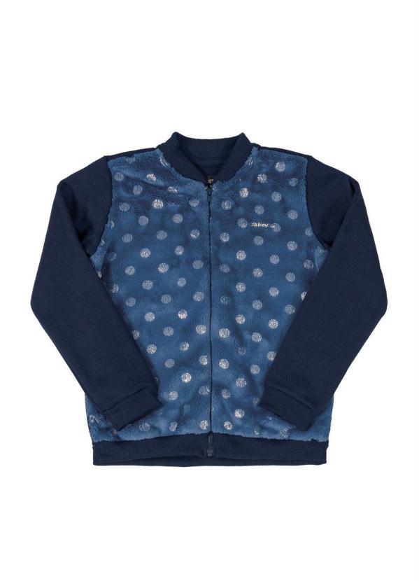Quimby - Jaqueta Infantil em Pelo e Moletom Azul