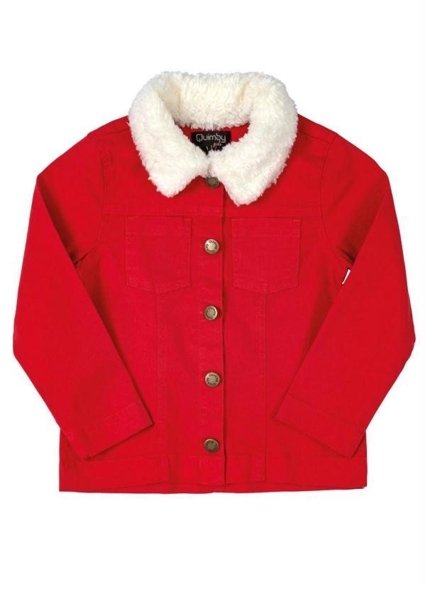 Quimby - Jaqueta Infantil em Sarja e Pelo Vermelho