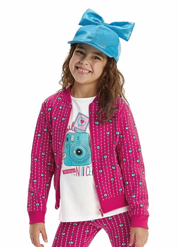 Malwee Kids - Jaqueta Pink Estampada em Moletom