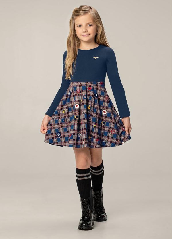 Carinhoso - Vestido Azul Escuro Evasê em Cotton Light