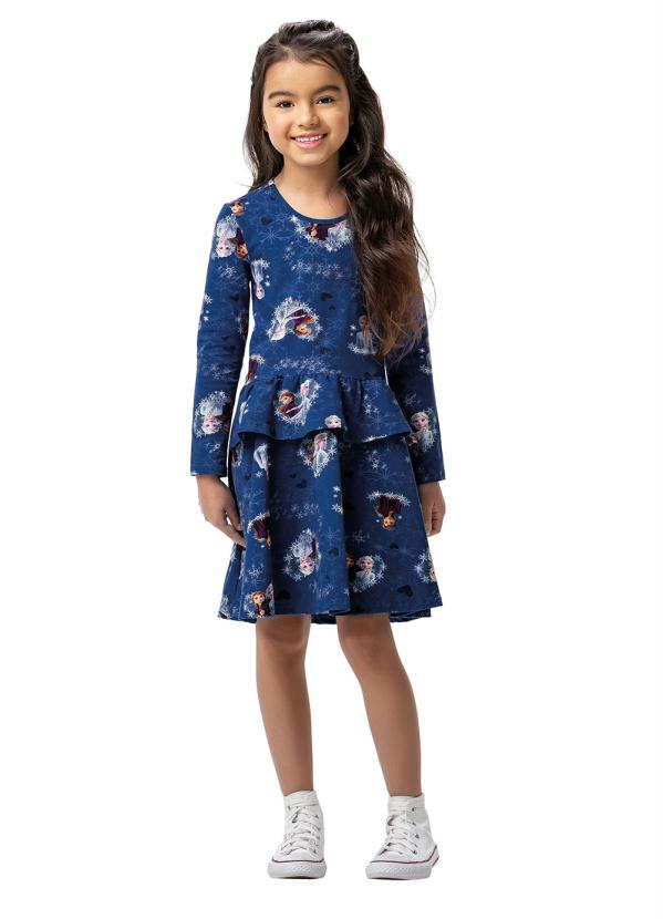 Malwee Kids - Vestido Azul Escuro Evasê Frozen Ii®