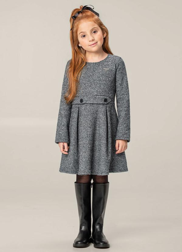 Carinhoso - Vestido Cinza Evasê em Malha Tweed
