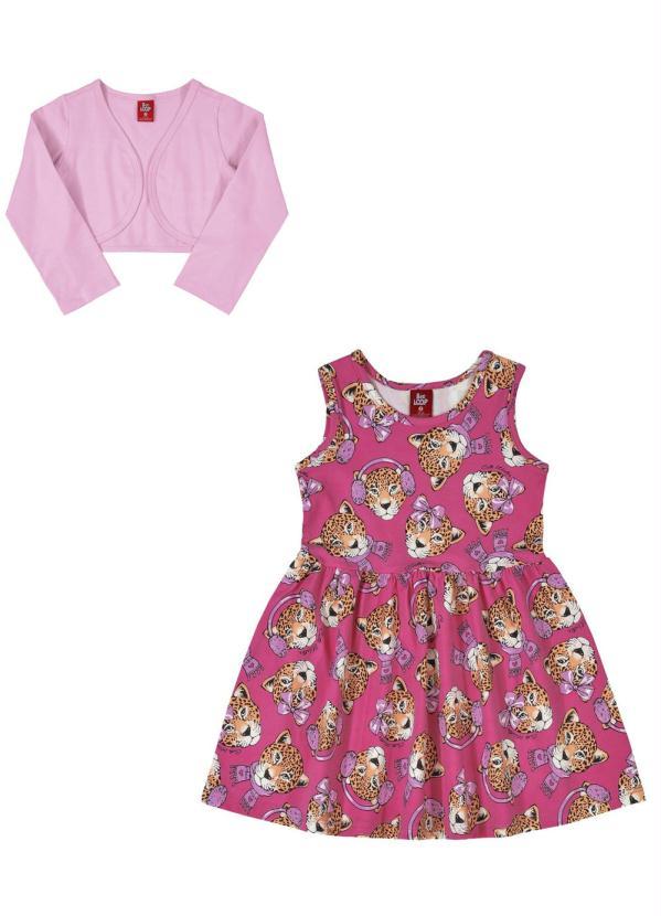 Bee Loop - Vestido com Bolero Infantil Rosa