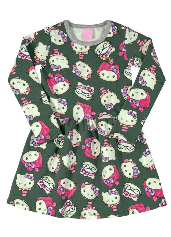 Hello Kitty - Vestido Estampado Infantil Verde
