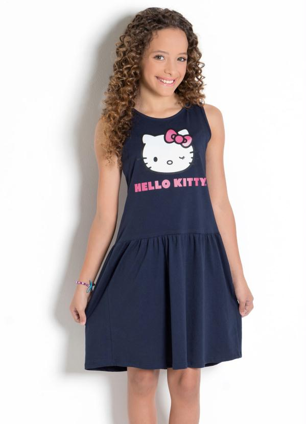 Hello Kitty - Vestido Hello Kitty Marinho com Babado