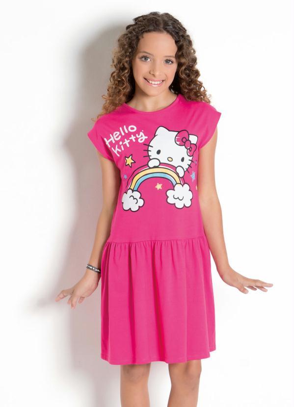 Hello Kitty - Vestido Hello Kitty Pink com Babado