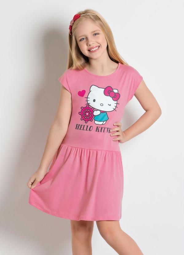 Hello Kitty - Vestido Hello Kitty Rosa com Manga Curta