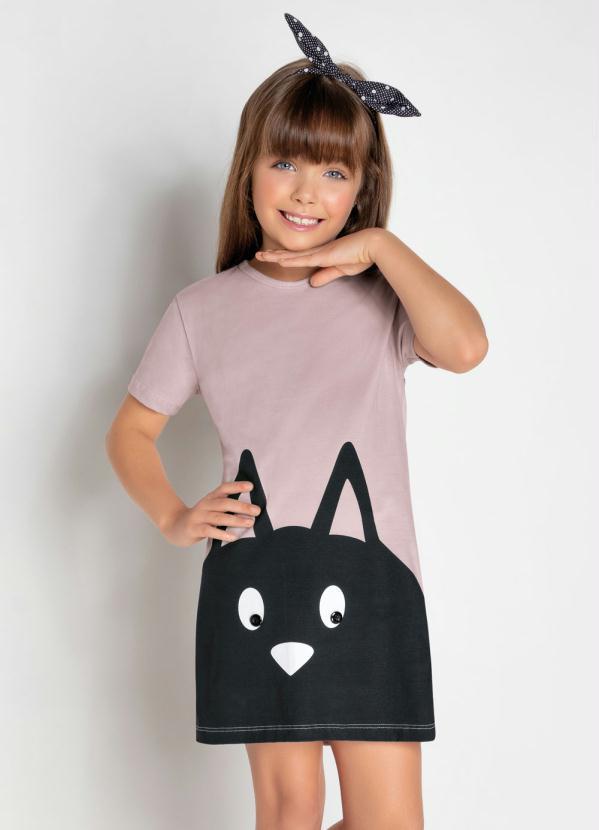 Moda Pop - Vestido Infantil com Estampa Gatinho Rosa
