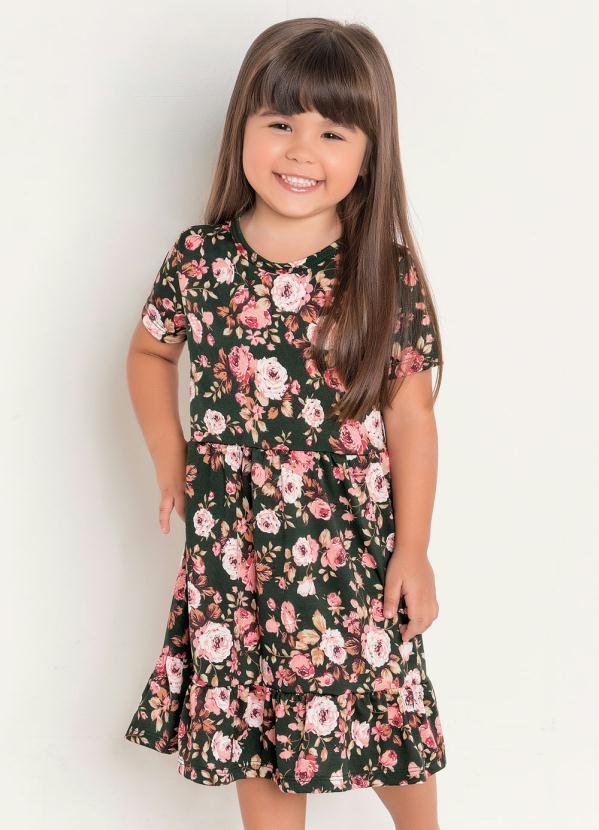 Rosalie - Vestido Infantil Floral Moda Evangélica