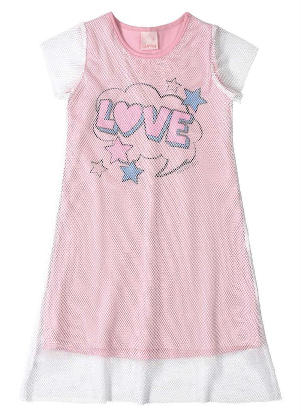 Quimby - Vestido Infantil Tela Rosa