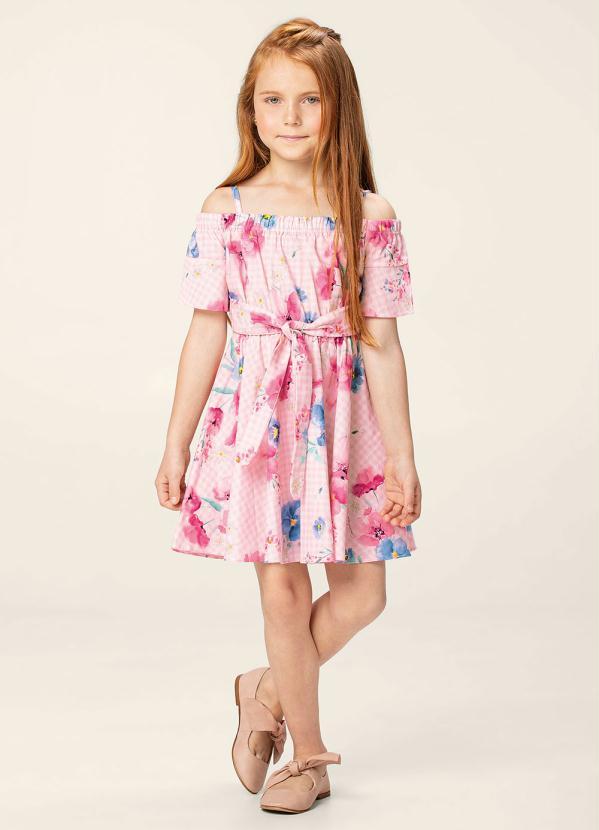 Carinhoso - Vestido Rosa Claro Evasê Floral