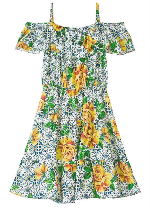 Carinhoso - Vestido Verde Estampa Digital