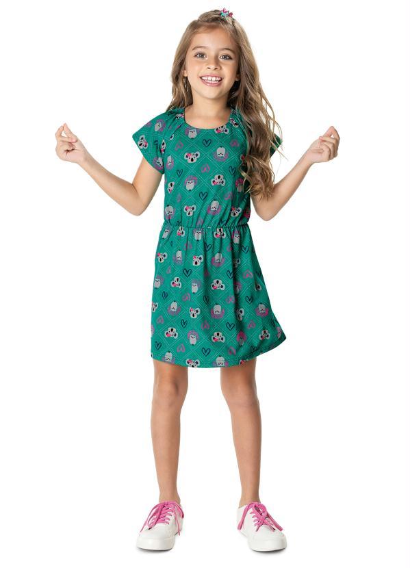 Malwee Kids - Vestido Verde Evasê Coalas Menina Malwee Kids