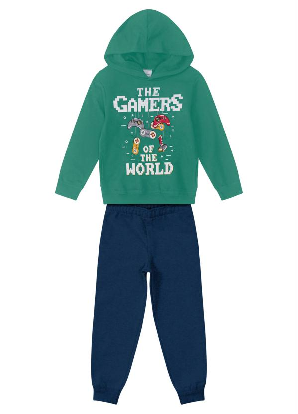 Rovitex Kids - Conjunto Infantil Moletom Gamers Verde